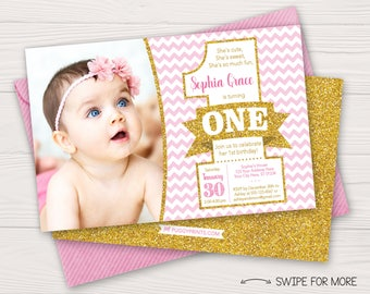 Pink and Gold First Birthday Invitation | 1st Birthday Invitation | ONE Birthday Invitation