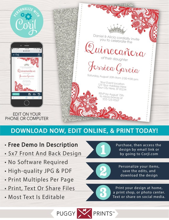 Quinceanera Birthday Invitation With Red Lace And Silver Glitter