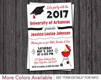 BBQ Graduation Party Invitation - ANY University or College - Class of 2017 Graduation Invitation