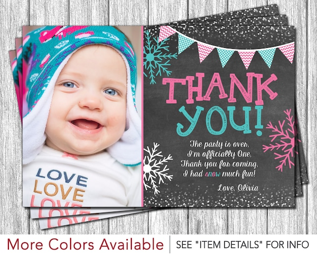Winter Onederland Thank You Card Personalized First Birthday Thank
