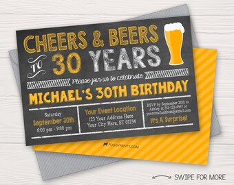 Cheers and Beers to 30 Years Birthday Invitation | 30th, 40th, 50th Surprise Birthday Party | Personalized and Printable