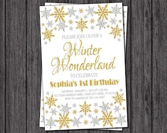 Winter Wonderland Invitation - Winter Birthday Invitation - Silver and Gold