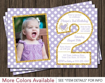 Lavender and Gold Second Birthday Invitation | 2nd Birthday Invitation