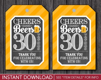 Cheers and Beers to 30 Years Favor Tags | Thank You Birthday Party Favor Tags | Printable Digital File | INSTANT DOWNLOAD