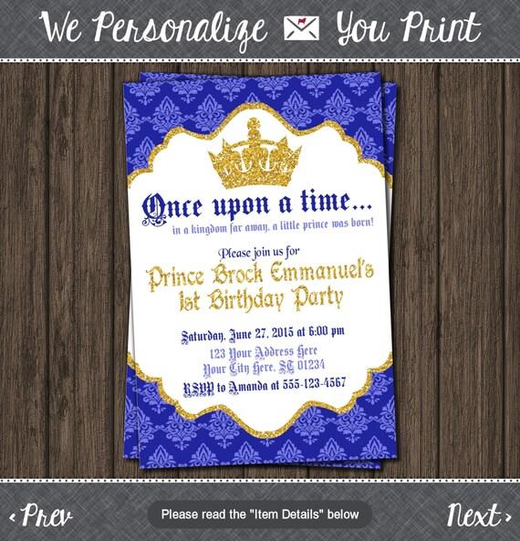 Prince Birthday Invitation First Birthday Invitations Etsy