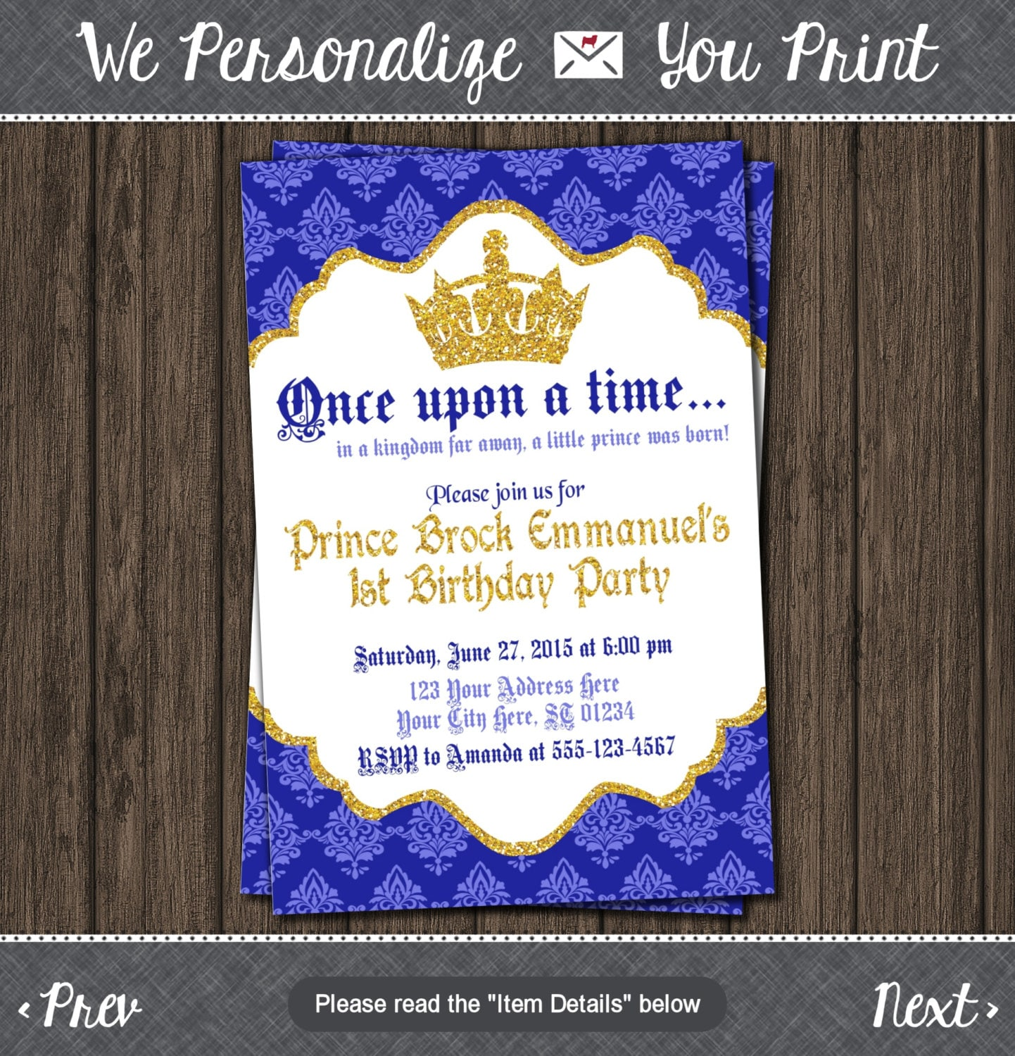 Prince Birthday Invitation First Birthday Invitations | Etsy