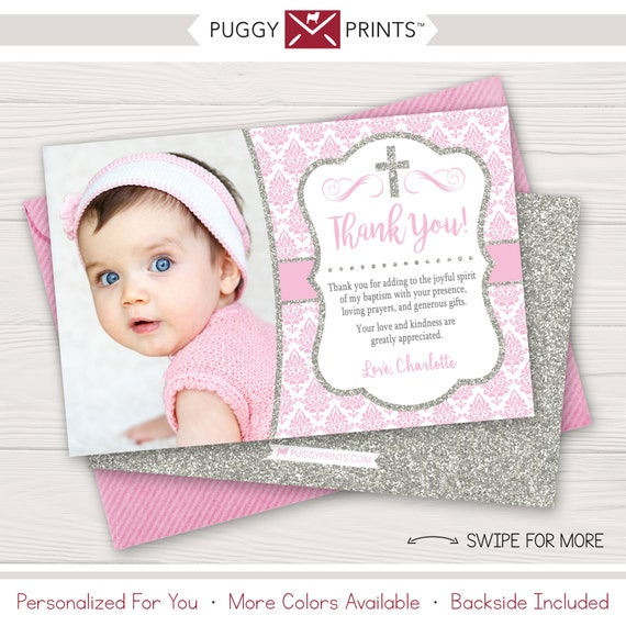 Baptism Thank You Card Girl Baptism Thank You Cards Baby Etsy