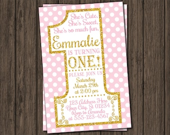 First Birthday Invitation - Pink and Gold 1st Birthday Invitations