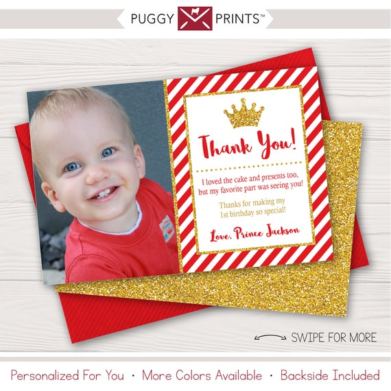 Prince Birthday Thank You Card With Photo In Red And Gold By Puggy
