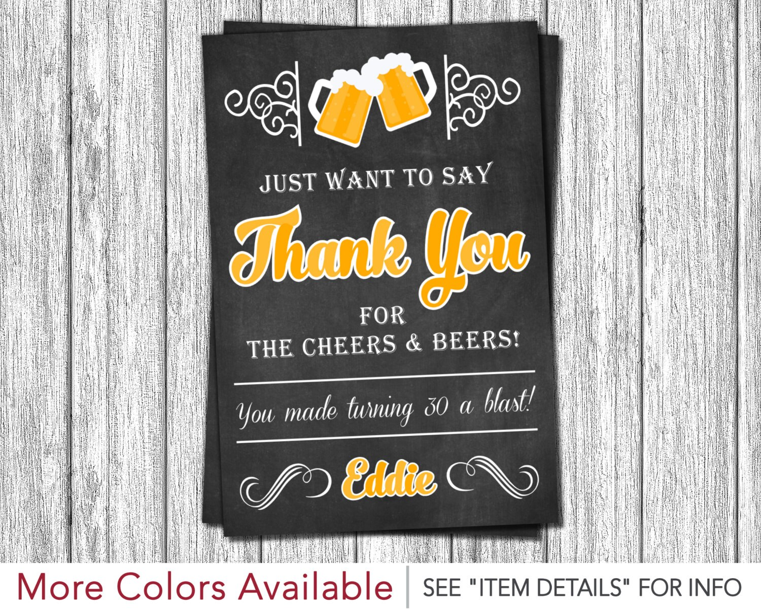 Cheers And Beers Thank You Card 30th Birthday