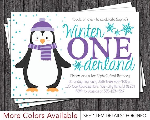 Penguin Birthday Invitation Winter Onederland Birthday Invitations