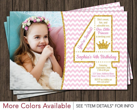 Princess 4th Birthday Invitation With Photo Pink And Gold