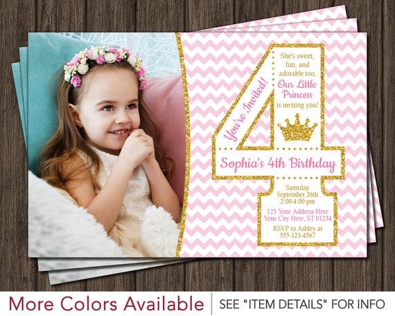 Princess 4th Birthday Invitation With Photo