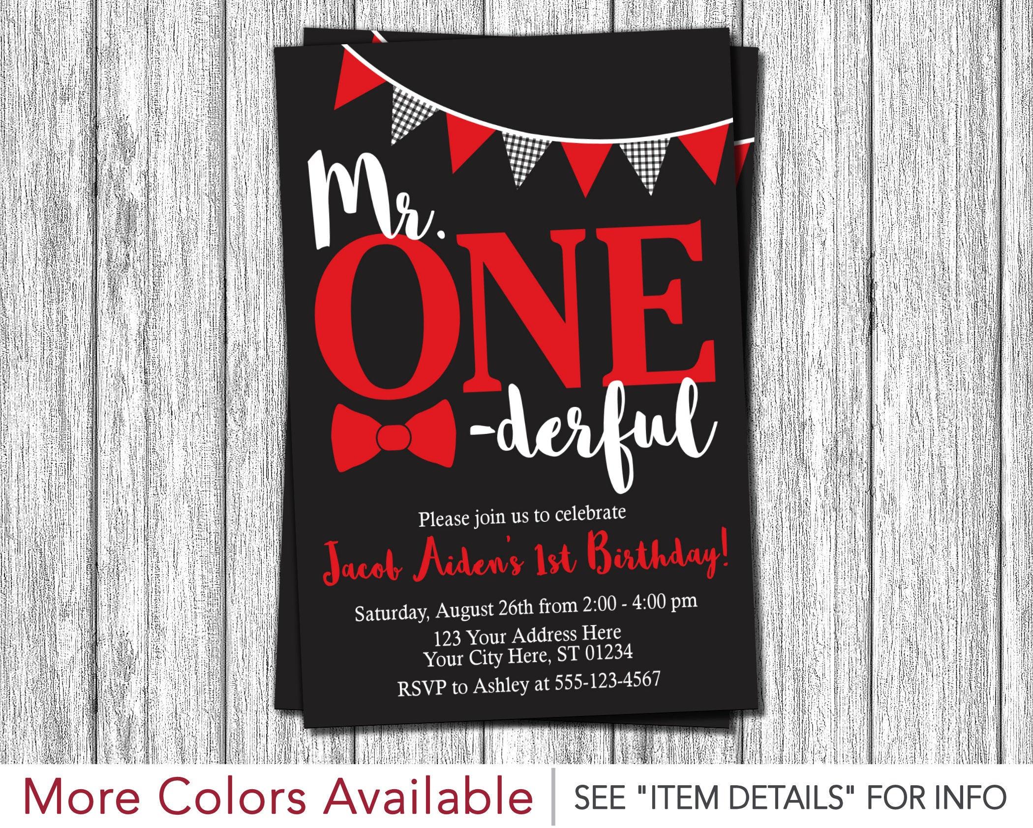 Mr. ONEderful Birthday Invitation Mr One-derful First | Etsy