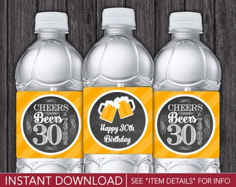 Cheers and Beers to 30 Years Water Bottle Labels | Printable Digital File | INSTANT DOWNLOAD