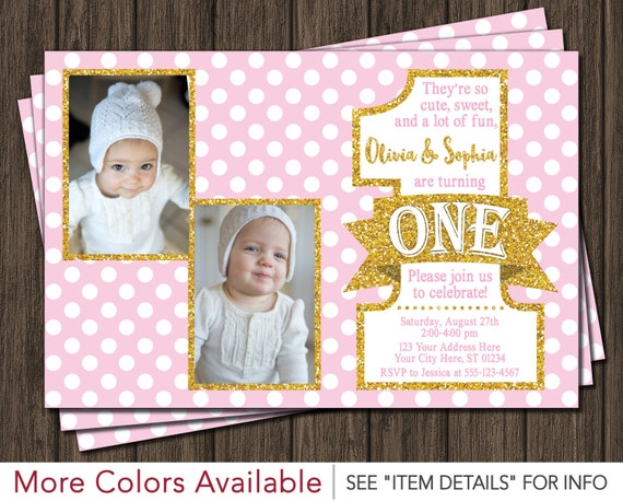 Twin birthday invitation pink and gold first birthday invitations il570xn filmwisefo