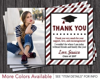 Graduation Thank You Card - Graduation Party Thank You Card