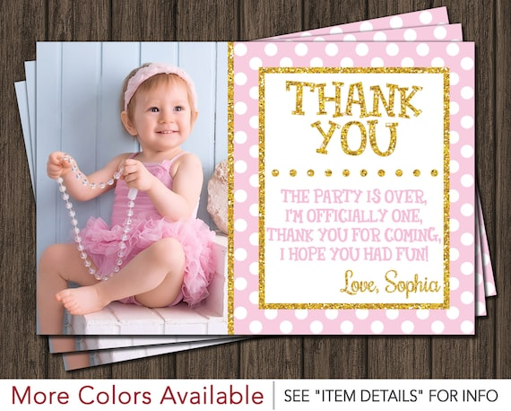 Pink And Gold Thank You Card First Birthday Thank You Card Etsy
