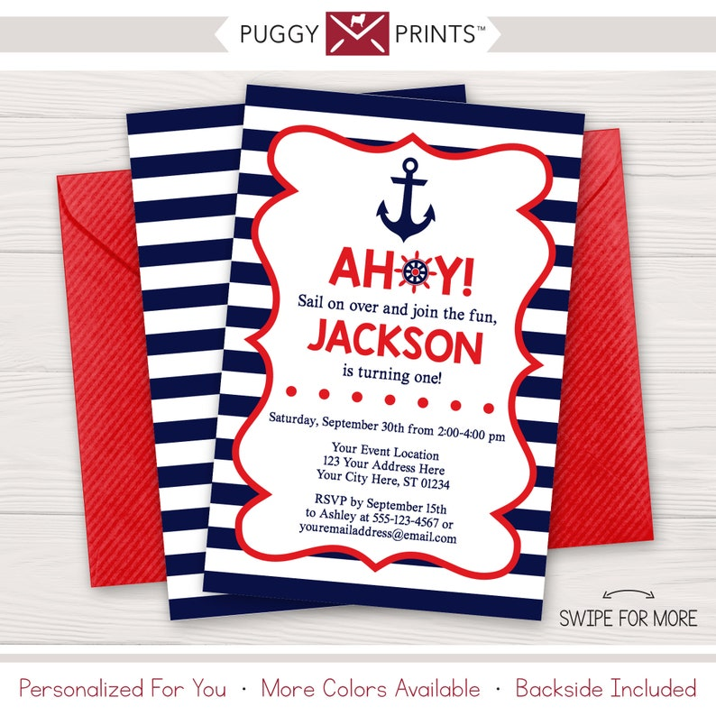 Nautical Birthday Invitation Anchor