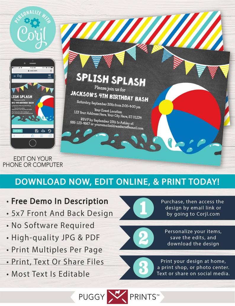 01136a3daeef Beach Ball Birthday Invitation for a Pool Party Editable