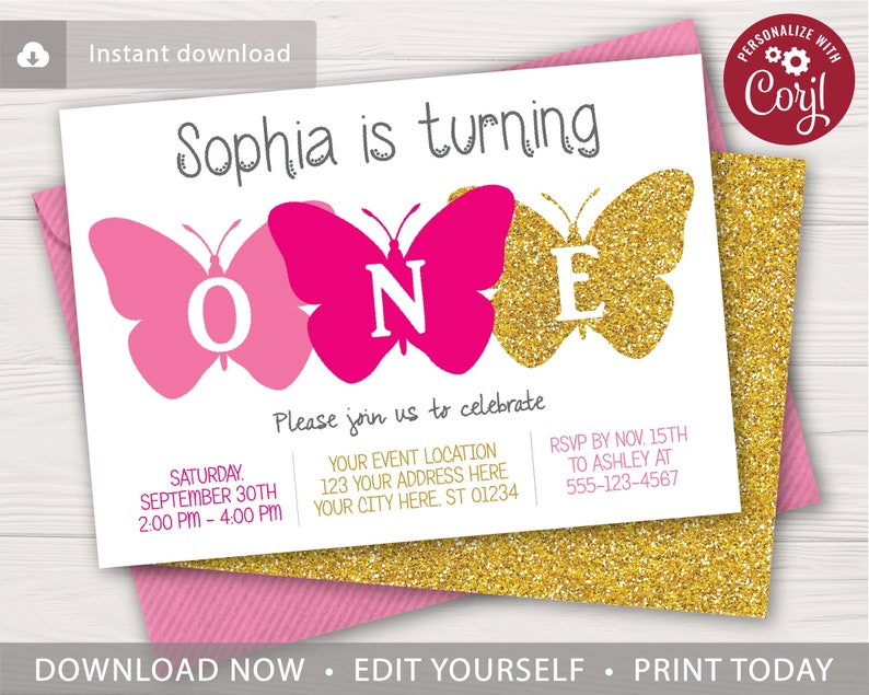 Butterfly First Birthday Invitation Editable Template Online