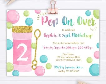 Bubble Birthday Invitation, Bubble Party Invitation, Blowing Bubbles, Pop On Over, Pink Bubbles, Bubbles Invitation, Bubble Bash Party