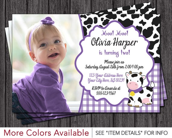 cow birthday invitation barnyard birthday invitations etsy