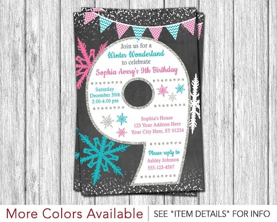 Winter Wonderland 9th Birthday Invitation