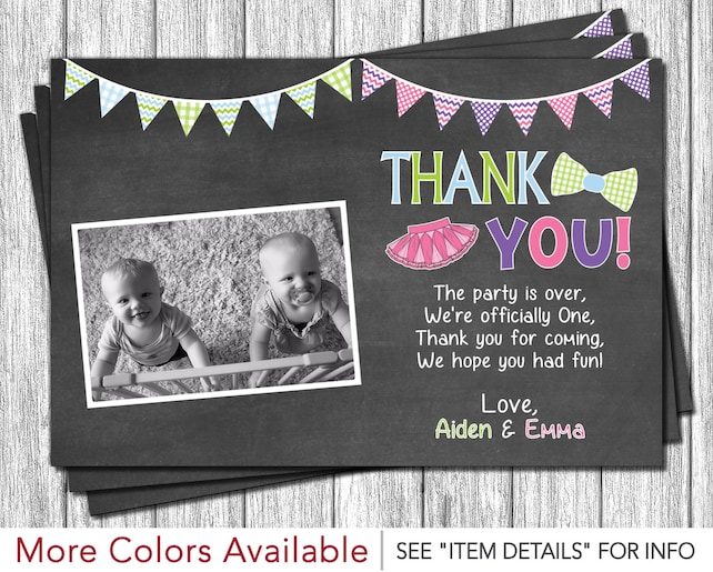 Twins Birthday Thank You Card Tutus And Ties Boy And Girl Twin