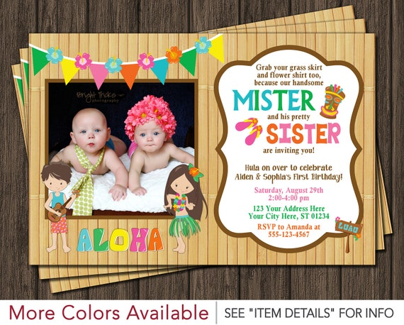 twins birthday invitation luau party hawaiian invitation boy and