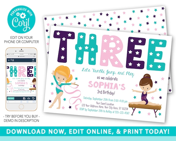 This is an image of Free Printable Gymnastics Birthday Invitations throughout girls