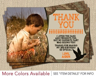 Duck Hunting Thank You Card | Personalized Camo Birthday Thank You Cards