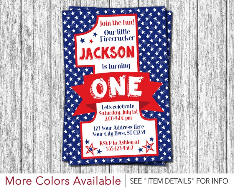 4th Of July Birthday Invitation Fourth First