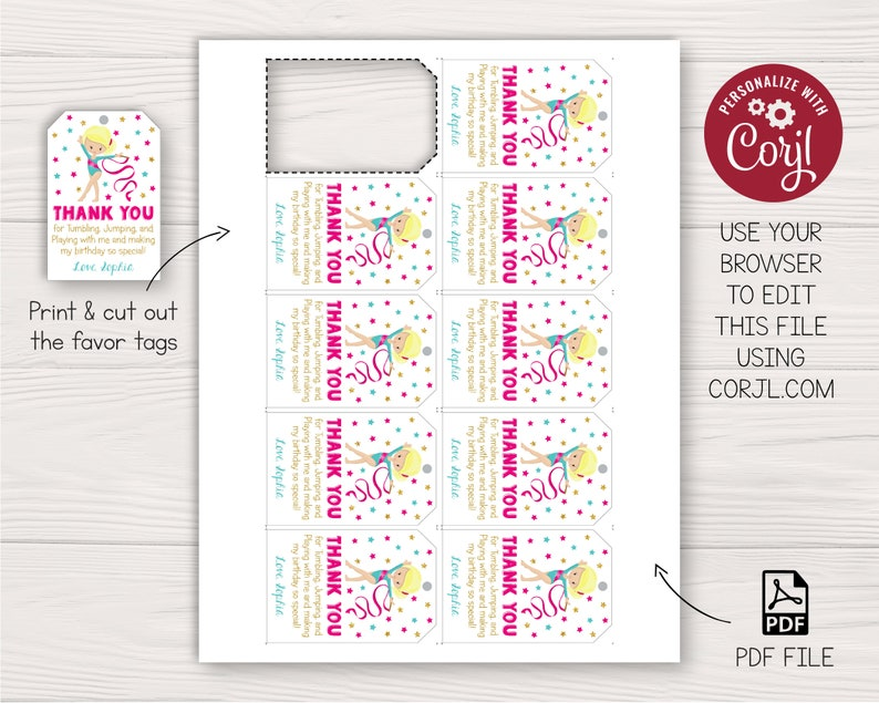 Gymnastics Birthday Favor Tags | Editable Template Online | Instant Download