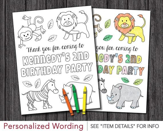 Safari Birthday Coloring Page Printable 85 X 11