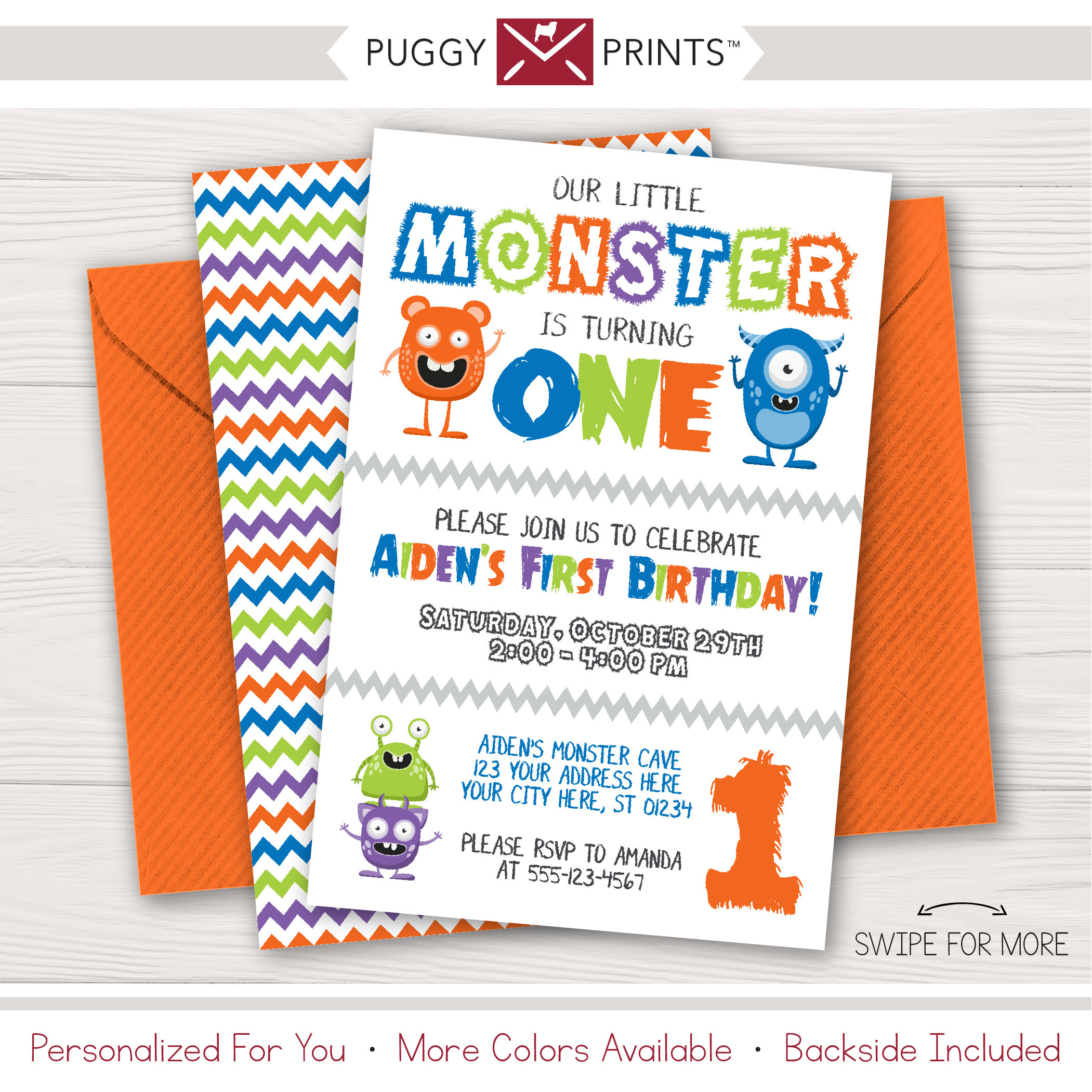 Monster Birthday Invitation Little Monster First Birthday | Etsy