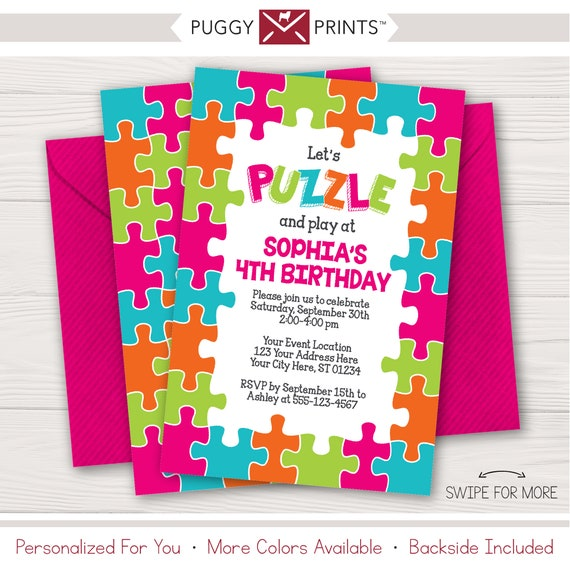 puzzle birthday invitation printable puzzle party invitations
