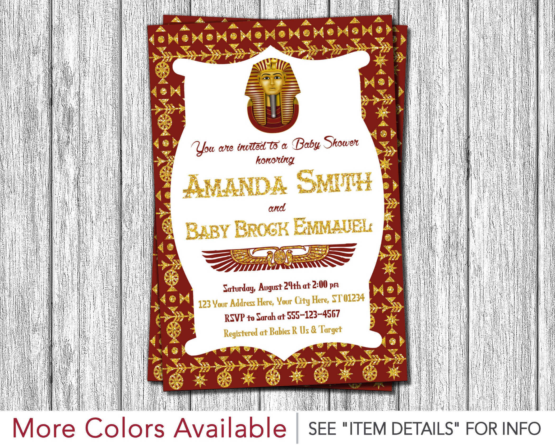 Egyptian Baby Shower Invitation Egyptian Theme Invitation | Etsy