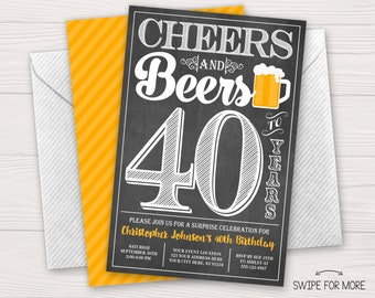 Cheers and Beers to 40 Years Birthday Invitation | 30th, 40th, 50th Surprise Birthday Party | Personalized & Printable