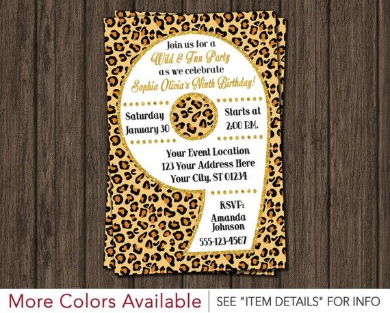 Cheetah 9th Birthday Invitation