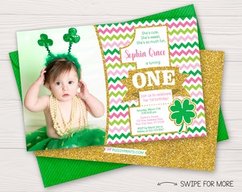 St. Patrick's Day Birthday Invitation | St. Patty's Day Birthday Party Invitations | Pink, Green, & Gold | Personalized and Printable