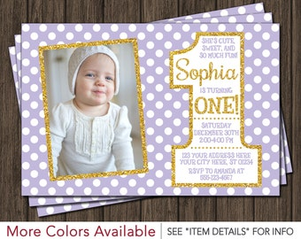 First Birthday Invitation | 1st Birthday Invitations | Lavender and Gold