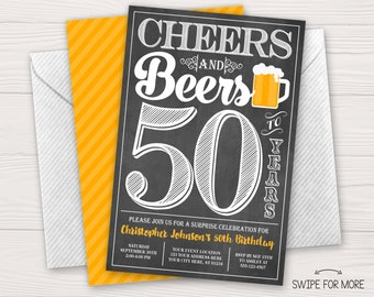 Cheers and Beers to 50 Years Birthday Invitation | 30th, 40th, 50th Surprise Birthday Party | Personalized & Printable