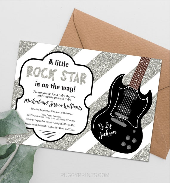 Rock n Roll Rock a Bye Baby Printable Invitations and Party Supplies Baby Shower EDITABLE INSTANT DOWNLOAD Birthday Party