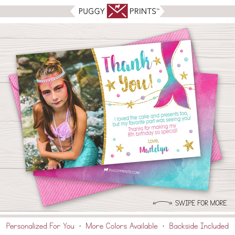 Mermaid Under The Sea Personalised THANK YOU CARDS Girl/'s Birthday Party