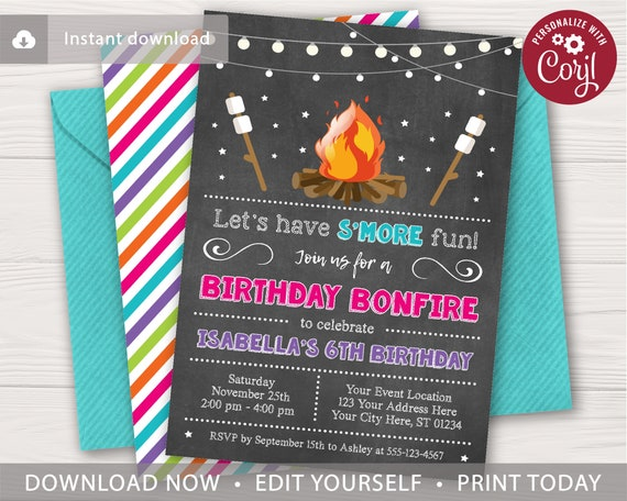 bonfire birthday invitation editable template online etsy