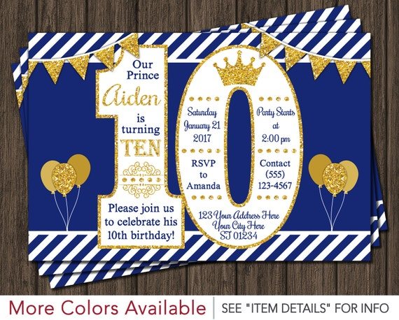 prince 10th birthday invitation in royal blue and gold by puggy