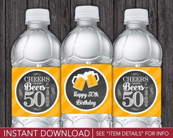 Cheers and Beers to 50 Years Water Bottle Labels | Printable Digital File | INSTANT DOWNLOAD
