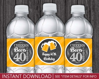 Cheers and Beers to 40 Years Water Bottle Labels | Printable Digital File | INSTANT DOWNLOAD