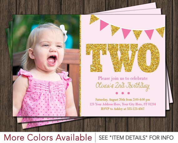 pink and gold 2nd birthday invitation with photo light pink etsy